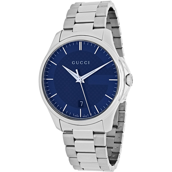 Gucci Women's YA126440 'Timeless' Blue Dial Stainless Steel Medium Swiss Quartz Watch - silver