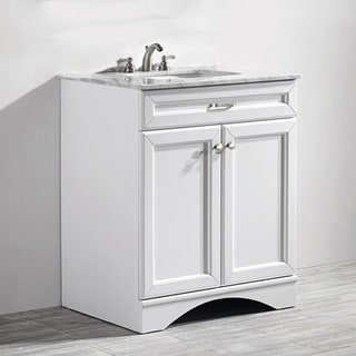 Vinnova Naples 30-inch Single White Mirrorless Vanity with Carrera White Marble Top