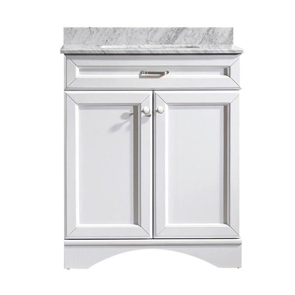 Vinnova Naples 30 Inch Single White Mirrorless Vanity With Carrera White Marble Top Free