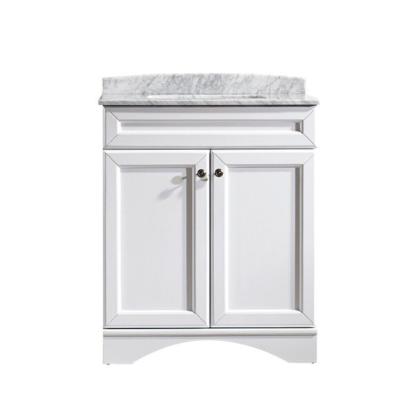 Vinnova Naples 30 Inch Single White Mirrorless Vanity With Carrera White Marble Top 17404890