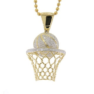 Sterling Silver 3/4ct TDW Diamond Basketball Necklace
