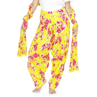 Indian Clothing Women's Full Length Patiala Pants Pink Roses Print with Scarf (India)