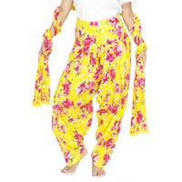 Handmade Indian Clothing Women's Full Length Patiala Pants Pink Roses Print with Scarf (India)