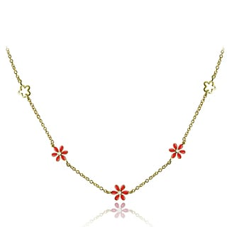 Mondevio 18k Gold over Silver Enamel Daisy Flower Children's Necklace
