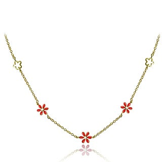 Mondevio 18k Gold over Silver Enamel Daisy Flower Children's Necklace (3 options available)