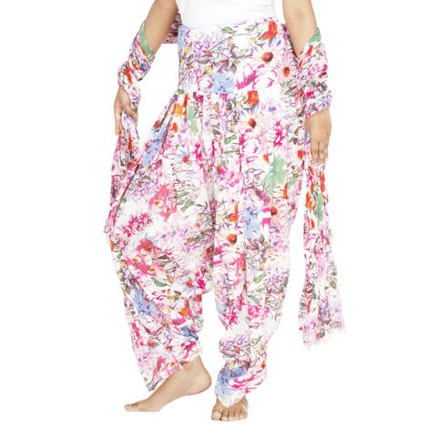 Handmade Indian Clothing Women's Full Length Floral Patiala and Dancer Pants with Scarf (India)