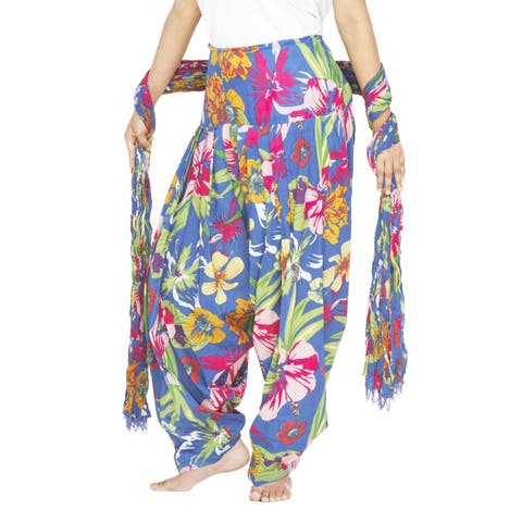 Handmade Indian Clothing Women's Full Length Patiala Pants Tropical Print with Scarf (India)