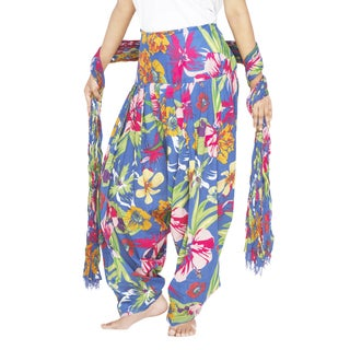 Indian Clothing Women's Full Length Patiala Pants Tropical Print with Scarf (India)