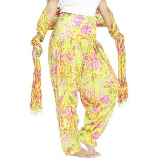 Indian Clothing Women's Full Length Patiala Pants Rose Print with Scarf (India)