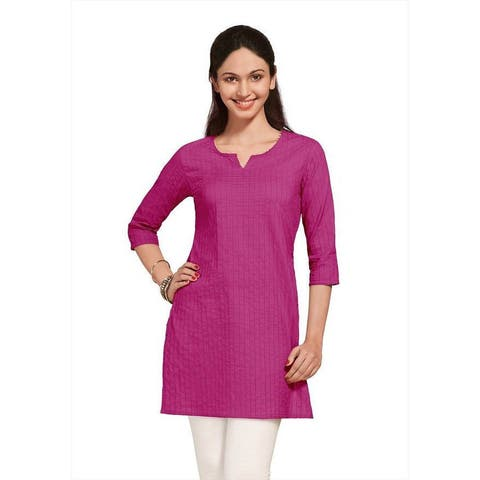 Handmade Indian Clothing Women's Pintuck Kurta Tunic (India)