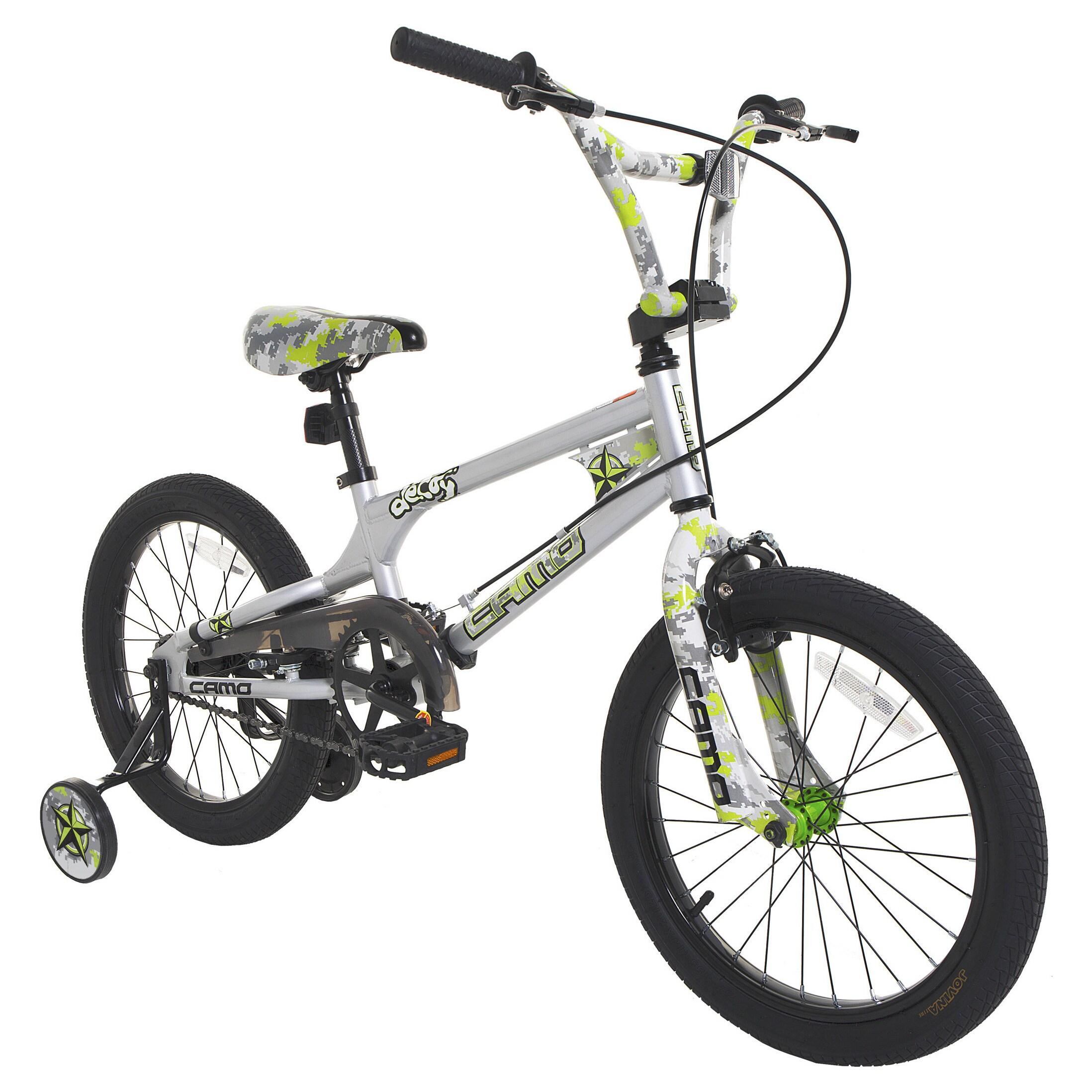 LTD Camo Decoy 18-inch Boys Bike (18'' Silver, Neon Green)