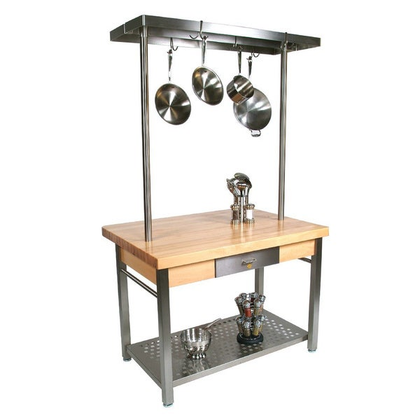 John boos cucg20 cucina grande 48 x 24 table with potrack for Grande table