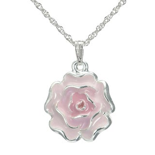 Jewelry by Dawn Pink Enamel Flower French Rope Chain Necklace