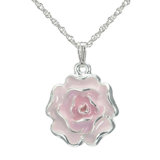 Handmade Jewelry By Dawn Pink Enamel Flower French Rope Chain Necklace USA
