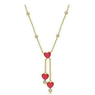 ICZ Stonez 18k Gold over Silver Cubic Zirconia and Enamel Dangling Heart Children's Necklace