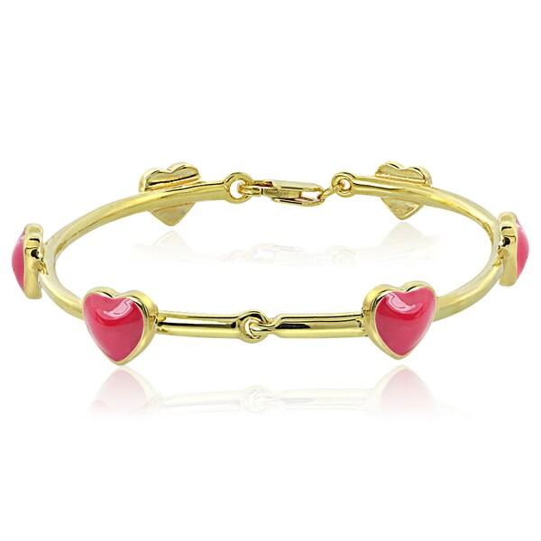 Mondevio 18k Gold over Silver Enamel Heart Children's Bangle Bracelet