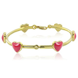 Mondevio 18k Gold over Silver Enamel Heart Children's Bangle Bracelet (2 options available)
