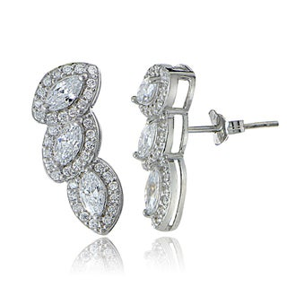 Icz Stonez Sterling Cubic Zirconia Marquise-cut Crawler Earrings