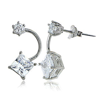 Icz Stonez Sterling Silver Cubic Zirconia Front-Back Earrings