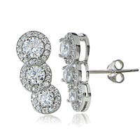 Icz Stonez Sterling Silver Cubic Zirconia Round-cut Crawler Earrings