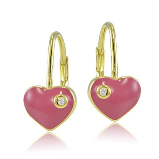 Link to ICZ Stonez 18k Gold over Silver Cubic Zirconia Ribbon Bow Children's Leverback Earrings Similar Items in Children's Jewelry