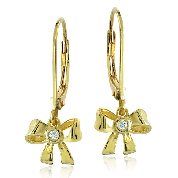 ICZ Stonez 18k Gold over Silver Cubic Zirconia Ribbon Bow Children's Leverback Earrings. Opens flyout.