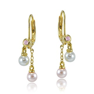 Glitzy Rocks Goldtone Pink Cubic Zirconia and Multi Colored Faux Pearl Children's Earrings
