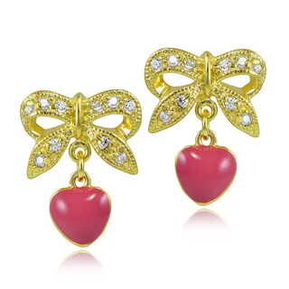 ICZ Stonez 18k Gold over Silver Cubic Zirconia Bow and Pink Enamel Dangling Heart Children's Earrings