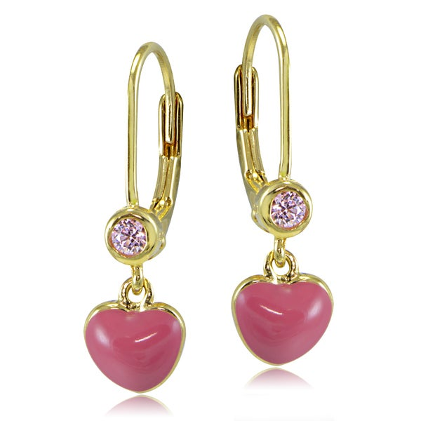 ICZ Stonez 18k Gold over Silver Enamel and Pink Cubic Zirconia Dangling Heart Children's Leverback Earrings