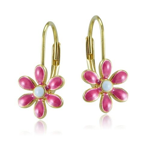 Mondevio 18k Gold over Silver Enamel Daisy Flower Children's Leverback Earrings