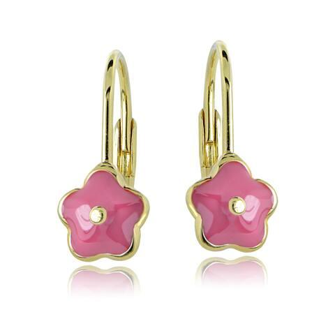 Mondevio 18k Gold over Silver Enamel Flower Children's Leverback Earrings