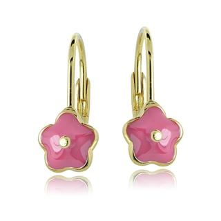 Mondevio 18k Gold over Silver Enamel Flower Children's Leverback Earrings