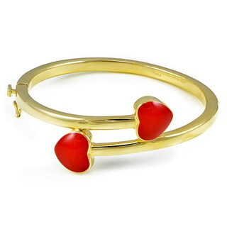 Mondevio 18k Gold over Silver Enamel Heart Children's Bangle