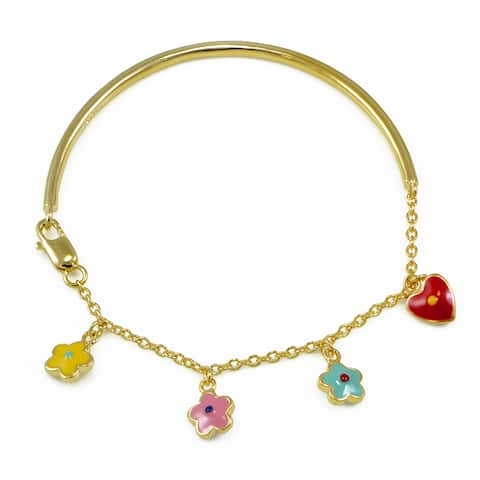 Mondevio 18k Gold over Silver Enamel Flower and Heart Children's Bangle Bracelet - Pink