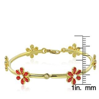 Mondevio 18k Gold over Silver Enamel Daisy Flower Children's Bracelet