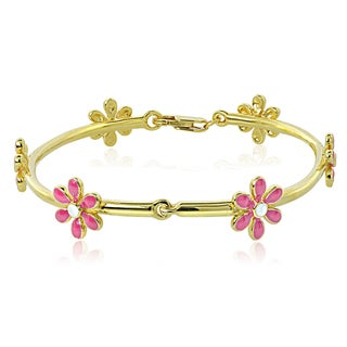 Mondevio 18k Gold over Silver Enamel Daisy Flower Children's Bracelet