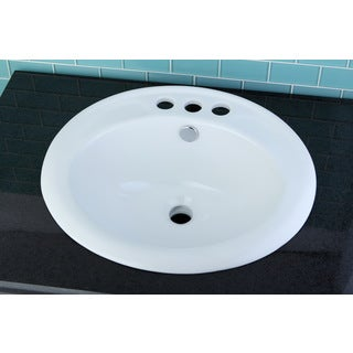 Round Surface Mount 4-inch Center Bathroom Sink (Builders pack of 3)