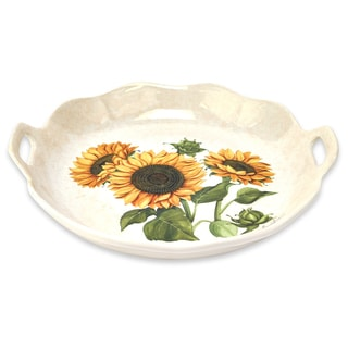 "Lorren Home Trends 15"" Sunflower Round Scalloped Bowl with Handles"