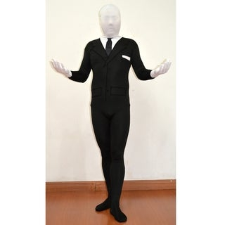Slenderman Adult Spandex Costume Body Suit Tie Slender Man Mens Black Tux Meme