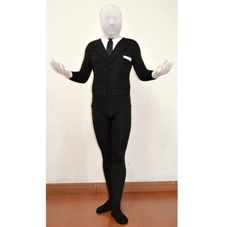 Slenderman Adult Spandex Costume Body Suit Tie Slender Man Mens Black Tux Meme (2 options available)