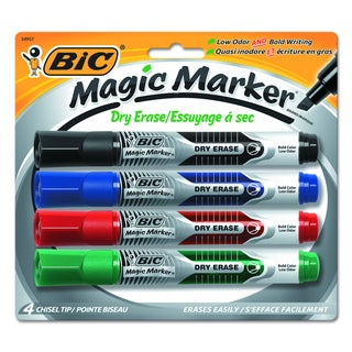 BIC Magic Assorted Marker Low Odor & Bold Writing Dry Erase Marker (Pack of 4)