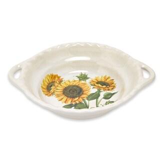 Lorren Home Trends 17-inch Sunflower Round Bowl with Handles