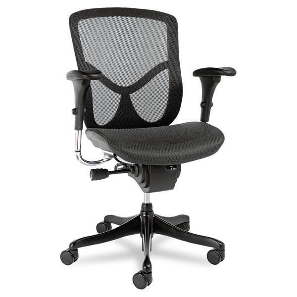 Alera EQ Series Black Base Ergonomic Multifunction Mid-Back Mesh Chair