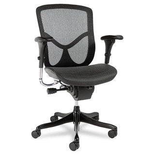 Alera EQ Series Black Base Ergonomic Multifunction Mid-Back Mesh Chair