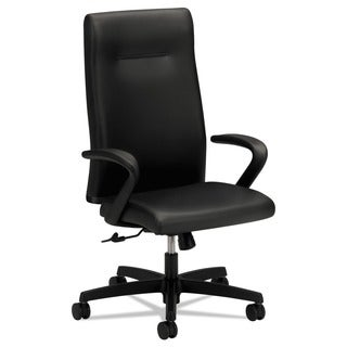HON Ignition Series Executive High-Back Chair, Black Leather Upholstery