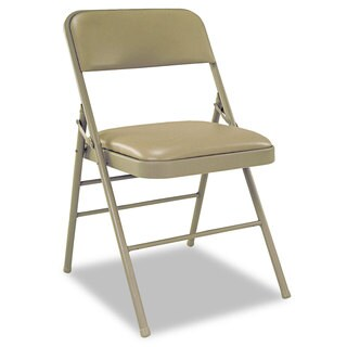 Cosco Deluxe Taupe Vinyl Padded Seat & Back Folding Chairs