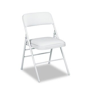 Cosco Deluxe Light Gray Vinyl Padded Seat & Back Folding Chairs (Set of 4)