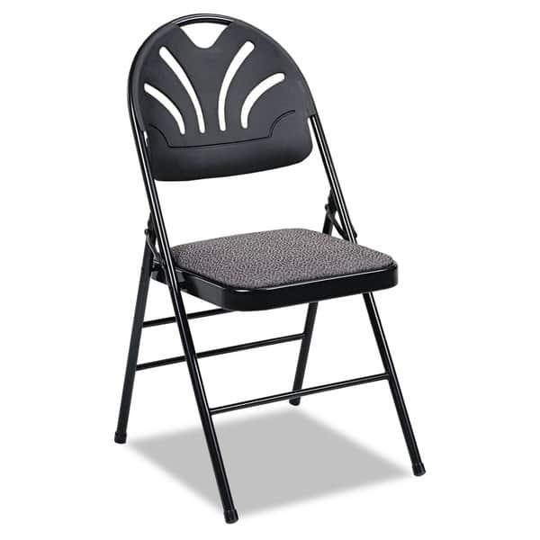 Cool Cosco Kinnear Black Fabric Padded Seat Molded Fan Back Folding Chair Set Of 4 Ibusinesslaw Wood Chair Design Ideas Ibusinesslaworg