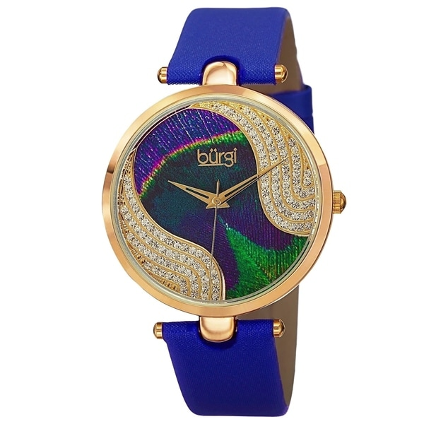 Burgi Women's Crystal Peacock Feather Leather Strap Watch with FREE Bangle