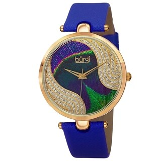 Burgi Women's Crystal Peacock Feather Leather Strap Watch (5 options available)